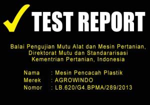 TEST REPORT MESIN PENCACAH PLASTIK alatmesin