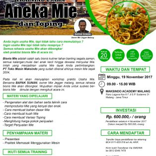 Training Usaha Aneka Mie dan Toping, 19 November 2017