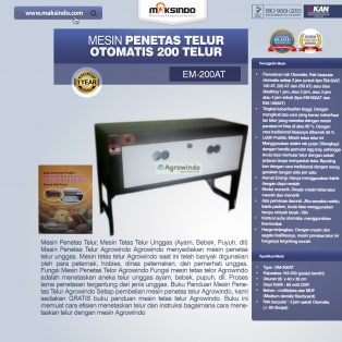 Jual Mesin Penetas Telur Otomatis Kapasitas 200 Telur (EM-200AT) di Surabaya