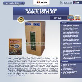 Jual Mesin Penetas Telur Manual 500 Telur (EM-500) di Surabaya
