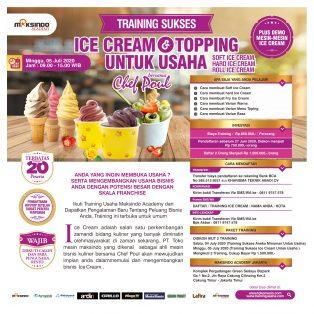 Training Sukses  Ice Cream Dan Topping, Minggu 05 July 2020